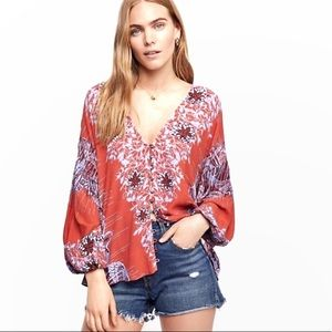 FREE PEOPLE Birds of a Feather Floral Boho Top
